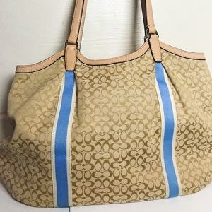 Coach Sign Stripe 6cm Devin Tote Handbag